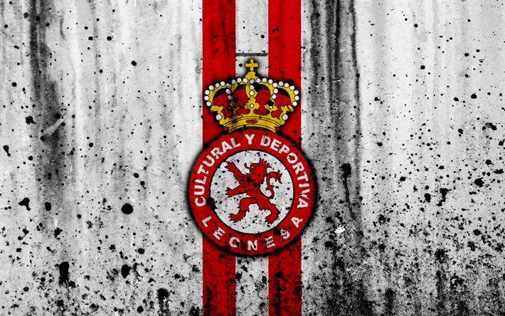 Download wallpapers 4k, FC Cultural Leonesa, grunge, Segunda Division, art, soccer, football club, Spain, Cultural Leonesa, logo, LaLiga2, stone texture, Cultural Leonesa FC