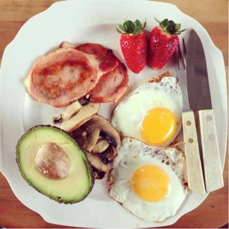 """What nutrition nerds eat for breakfast - I Quit Sugar Jayne and Katie, creators of Sweat and Oranges: """"We love a good breakfast cook-up, especially on weekends. However this plate of goodness can be whipped up in a flash, even when time is short during the week. This plate packs a powerful punch of nutrition, with an array of vitamins and minerals as well as protein and nourishing fats. Facing the day with this delicious breakfast guarantees boundless energy until lunchtime!"""""""