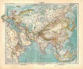 Asia Antique Map 1912 Stieler at CarambasVintage http://etsy.me/13p9fLN