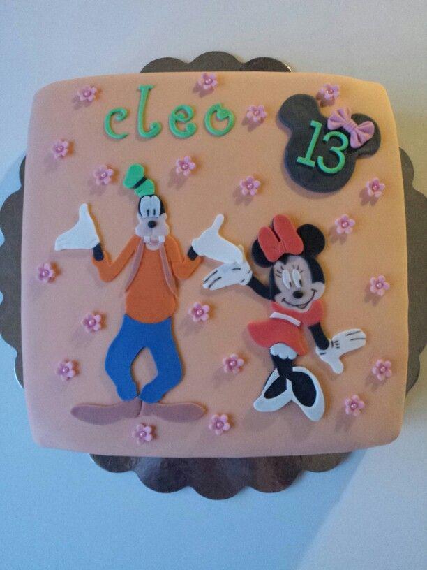 Disney taart Goofy en Minnie Mouse