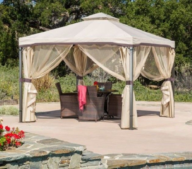 Gazebo Canopy Tent Outdoor 10 X 10 With Mosquito Netting Fabric Patio Backyard Christopherknight Patio Gazebo Gazebo Roof Gazebo Canopy