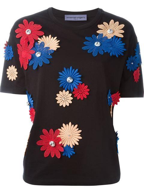 EMANUEL UNGARO Flower Appliqué T-Shirt. #emanuelungaro #cloth #t-shirt