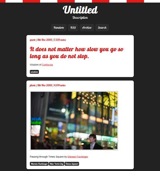This free Tumblr theme includes beautiful typography and a dark design with playful red and white accents.