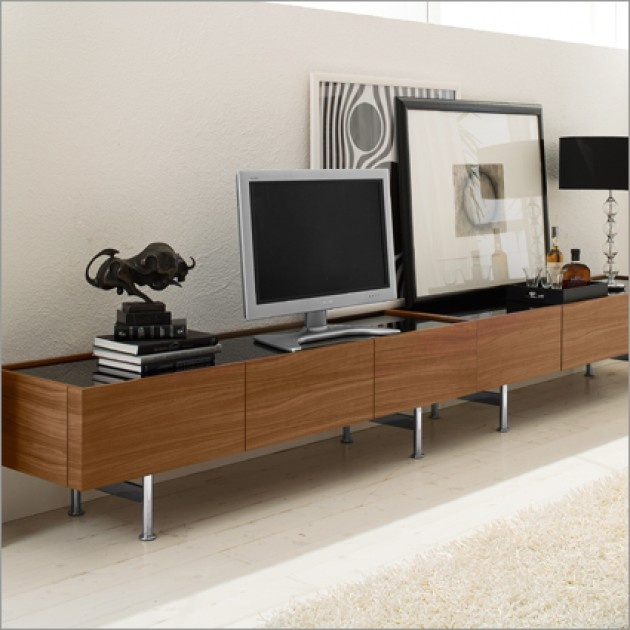 """Horizon Media Center available in walnut finish with option black, coffe or extra white glass top.  2 Lateral drawers and central drop down door with glass shelf and hole in the back of the cabinet allowing for cable management.  Rectangular chrome metal base.  70.75"""" w x19.75"""" d x 19.5"""" H  Available at POMP HOME in Culver City, CA  www.pomphome.com"""