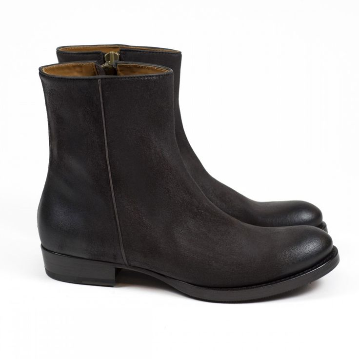 Distressed and waxed Ontano brown leather side-zip boot | No Man Walks Alone