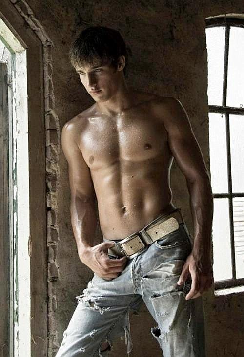 Nude men in jeans