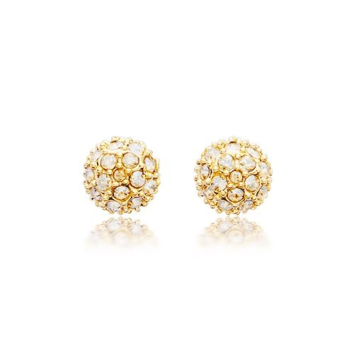 Emma Pave Crystal Ball Earrings with Swarovski® Crystals Gold Plated