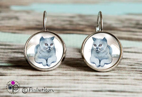 Glass cabochon Earrings Cat Earrings Dangle Earrings Cat Jewelry Cat Jewellry by Pinturicon on Etsy