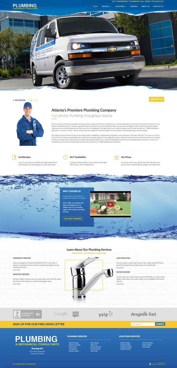 Design Concept for Plumbing MCI, an Atlanta based plumbing company.
