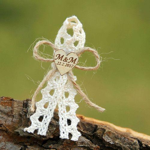Svatební mašlička RUSTIKÁLNÍ ♥ s iniciály na přání