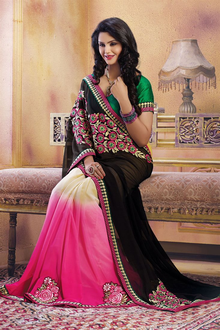 Groovy Black And Rani Color Chiffon And Georgette With Embroidered Work Saree Only RS. 3765