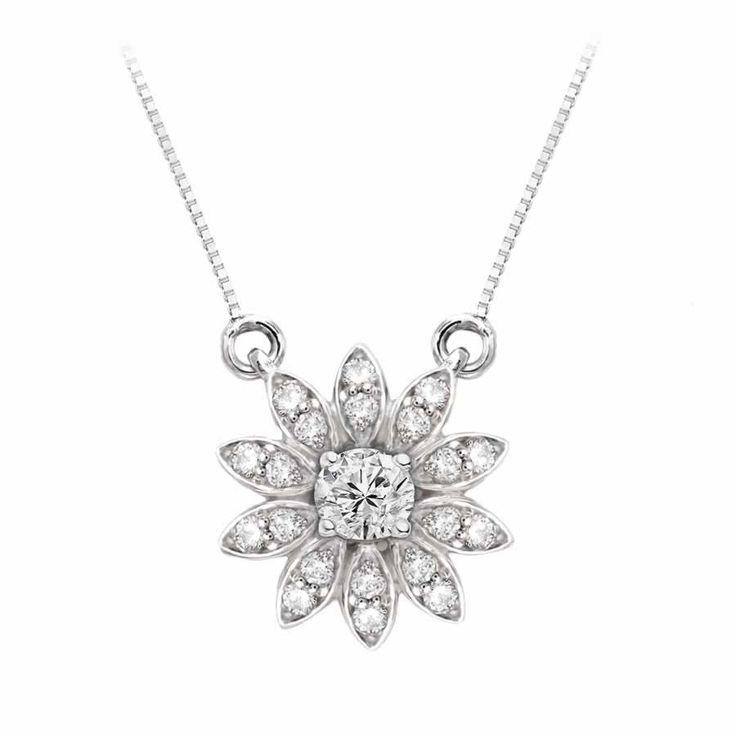 Flower Diamond Pendant in 9K White Gold (0.35ct. tw) | The Diamond Channel, Johannesburg