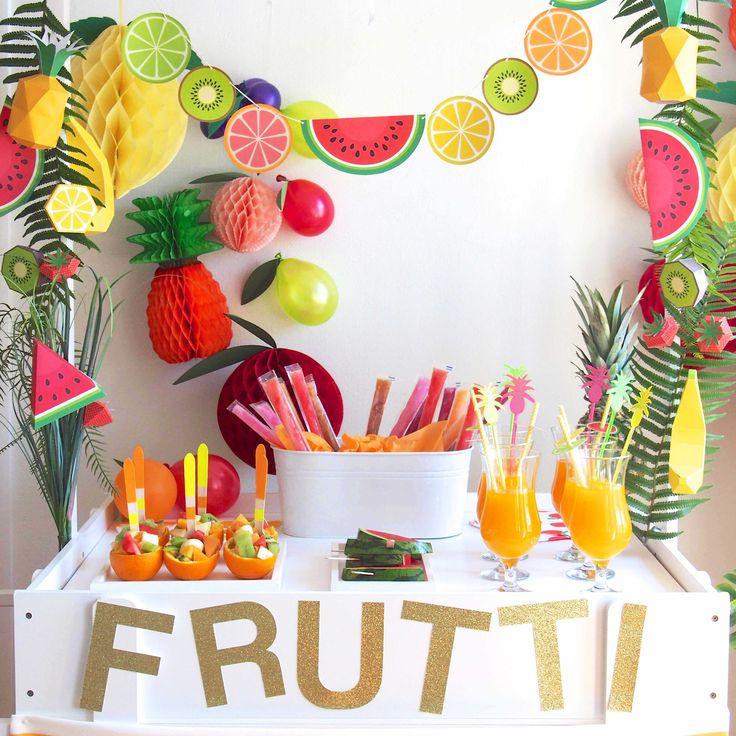 déco tropicale pour anniversaire déco tropicale pour fête Bar à fruits  tutti frutti