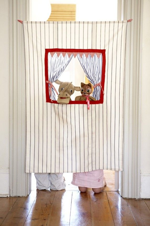Stuck inside? A doorway puppet theater is a great way to encourage hours of creative play.