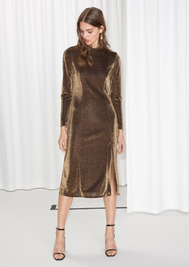 & Other Stories image 2 of Shimmery Midi Dress in Metallic Brown