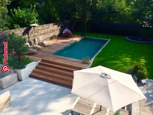 Pool Surrounding Landscape Pool Ideas In 2019 Pinterest Pool Landscaping Backyard And Small Backyard Pools Tuin Zwembad Tuin En Terras Zwembaden