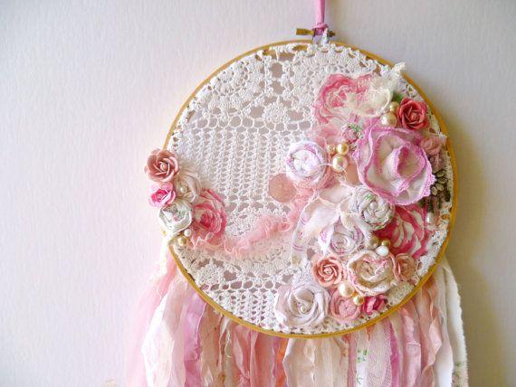 Pink Shabby Chic Dream Catcher.  Romantic Baby Girls Nursery Decor. Cottage Rose Wall Hanging, Art, Mobile. Baby Shower Decor. Newborn Gift