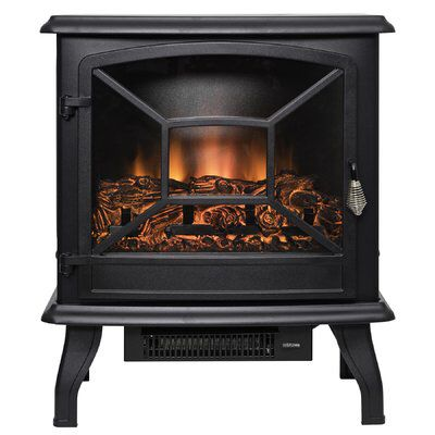 2 Settings Tempered Glass 3D Flames Electric Fireplace