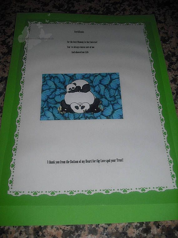 A certificate to the best MOM of ever to show how good they were. The certificate is in the A4 format and laminated