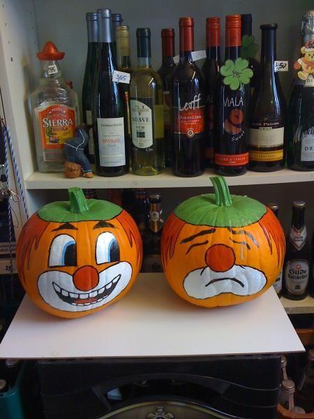 Kürbisse,handbemalte Kürbisse, Halloween, Herbstdekoration
