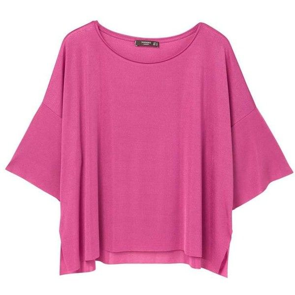 MANGO Fine-knit t-shirt (580 RUB) ❤ liked on Polyvore featuring tops, t-shirts, fuchsia, batwing sleeve tops, knit tee, seamless t shirt, mango tee and fuchsia pink tops