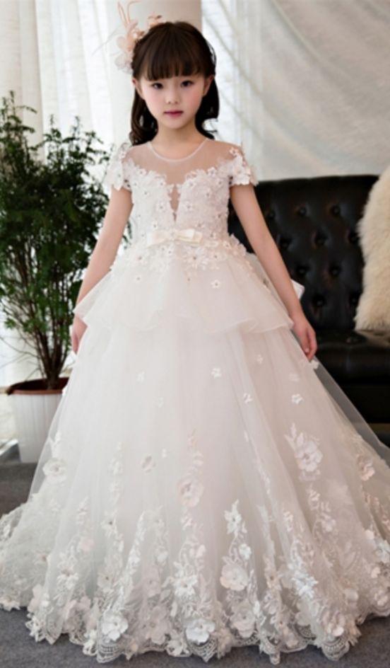 White Short Sleeves Beading Ball Gown Flower Girl