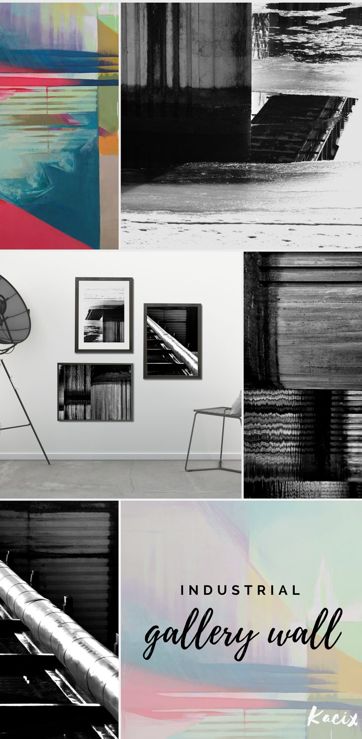 Create industrial gallery wall! 3 black and white printables set, inspired by urban patterns.  #industrial #abstract #abstractart #industrialdecor