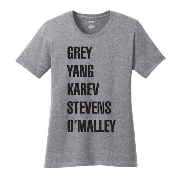 TKO tees Athletic Heather Grey's Anatomy Tee ($13) ❤ liked on Polyvore featuring tops, t-shirts, graphic design tees, graphic print tees, graphic tops, scoopneck top and graphic tees