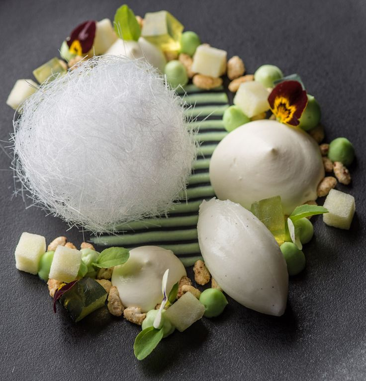 Sheep's milk mousse, pandan curd and caramelised puffed rice by Graham Hornigold