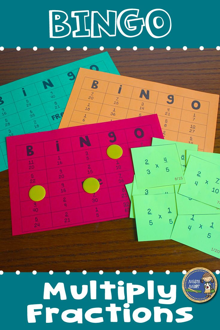Multiplying Fractions BINGO - Provide your students with some engaging practice with solving multiplying fraction problems. Great math game for small groups or whole class. $ gr 6-8