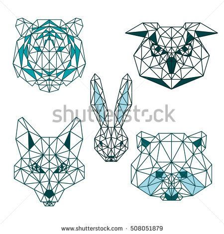 POLYGONAL ANIMAL HEAD TIGER RABBIT FOX OWL RACCOON POLYGON LINE LOGO ICON SET