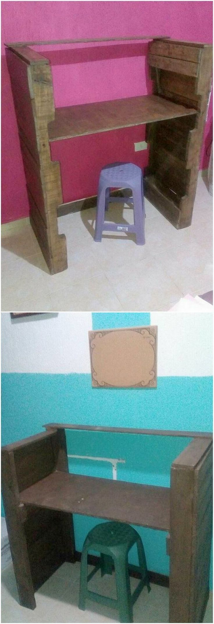 How rough and much simple this study table design of wood pallet has been crafted out for you. This table has been all carried out with the plain stacking of the wood pallet planks which you can even carry out by your own as well.