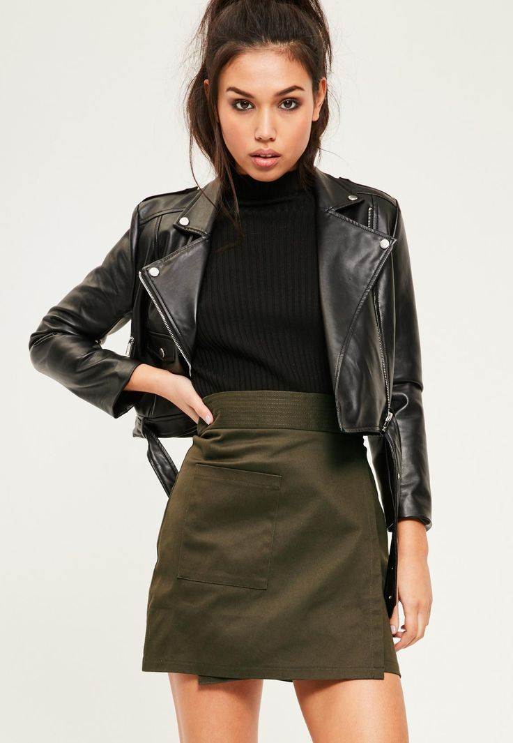 Missguided - Khaki Cotton Wrap Over Pocket Front Skirt