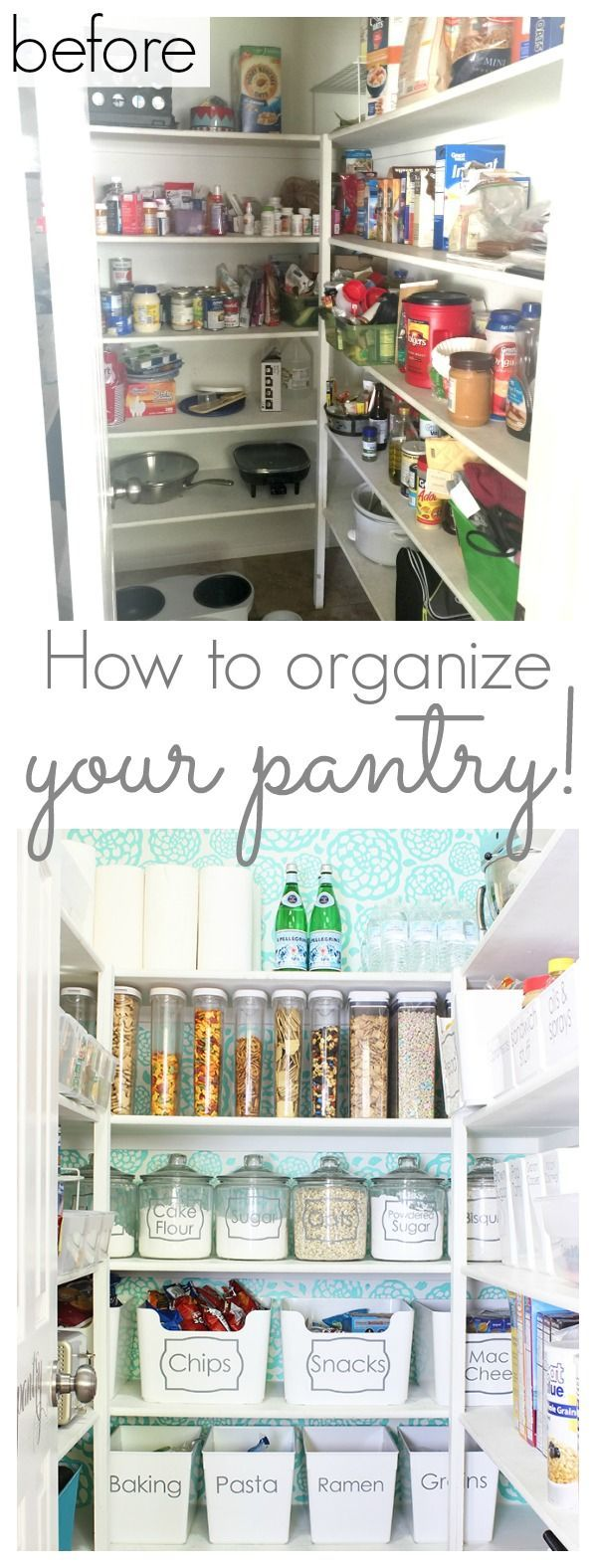 How to organize your pantry - Tons of tips and ideas for organizing and decorating your pantry! - www.classyclutter.net