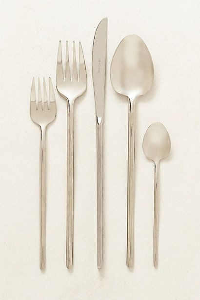 These could work I like the forks $24 per setting -- Spindle Flatware  #anthropologie