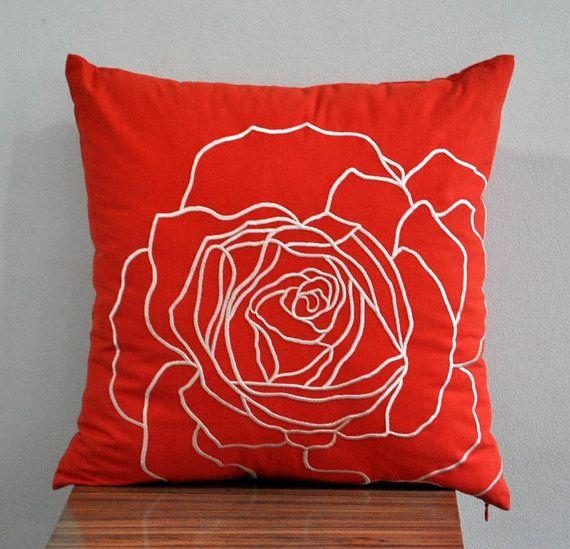 Orange Rose Throw Pillow Cover 18 x 18 Decorative by KainKain. $21.00, via Etsy.