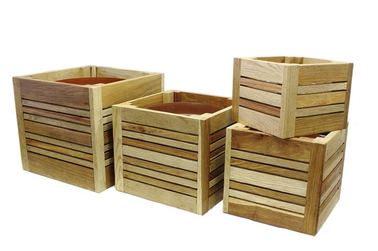 Planter boxes and herb trays, made in hardwood they're super long lasting.