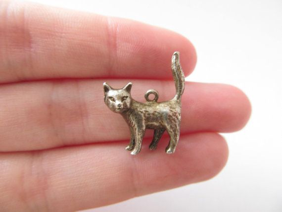 Vintage Sterling Silver Cat Charm / Pendant by DottieDollie