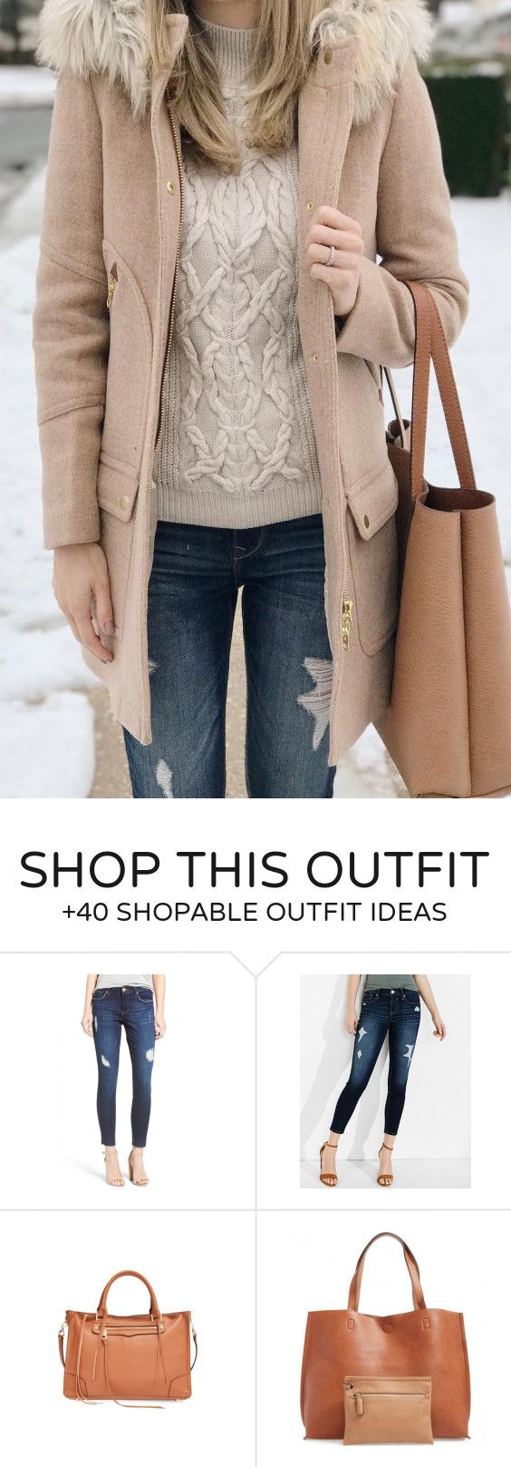 #winter #fashion /  Beige Coat / Cream Knit / Camel Tote Bag / Ripped Skinny Jeans