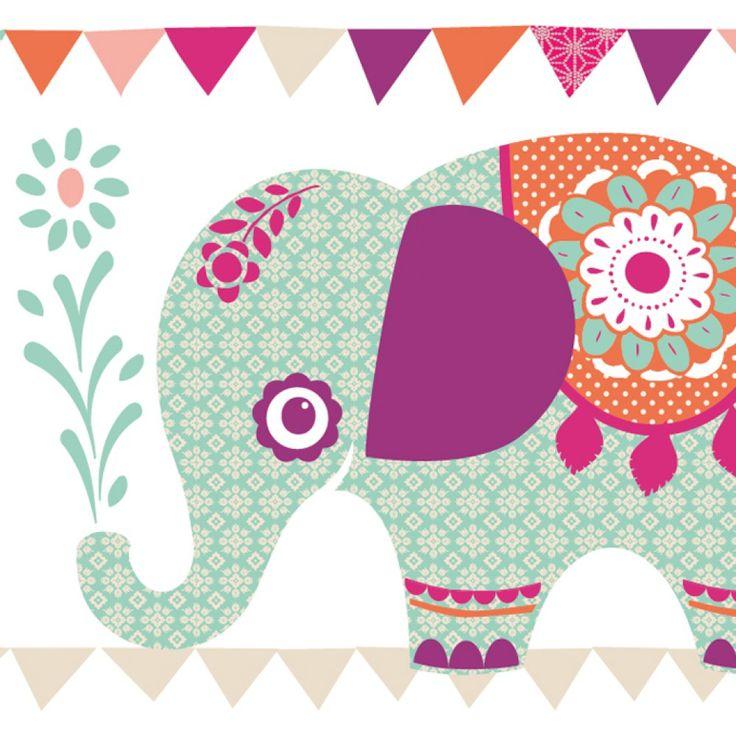 "Selbstklebende Bordüre ""Elefanten"" Girls  | anna wand® design"