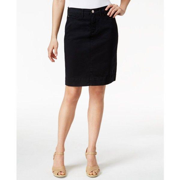 Lee Platinum Kellie Denim White Wash Pencil Skirt ($41) ❤ liked on Polyvore featuring skirts, black, lee skirts, knee length pencil skirt, denim skirt, knee length denim skirt and knee length denim pencil skirt