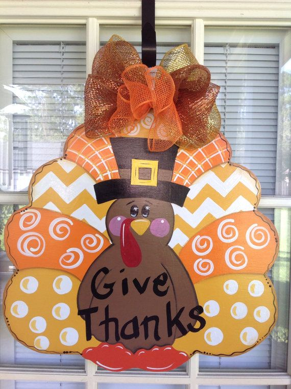 Thanksgiving turkey door hanger Ready to Ship by samthecrafter