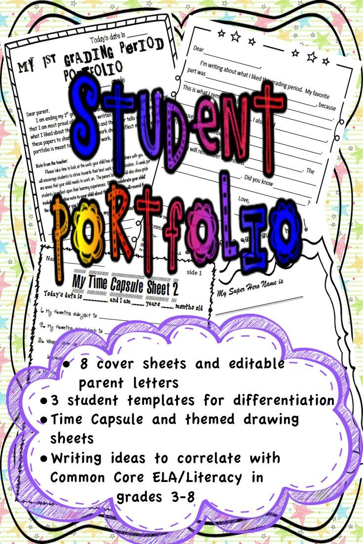 This student portfolio kit is designed for elementary through middle school classrooms. The kit includes cover pages, parent letters, directions, student letter templates, time capsule sheets, and themes for fun personal drawings for each grading period as well as per subject.