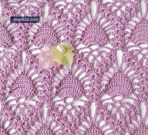 @ MyPicot - Free crochet pattern - lace pineapple stitch