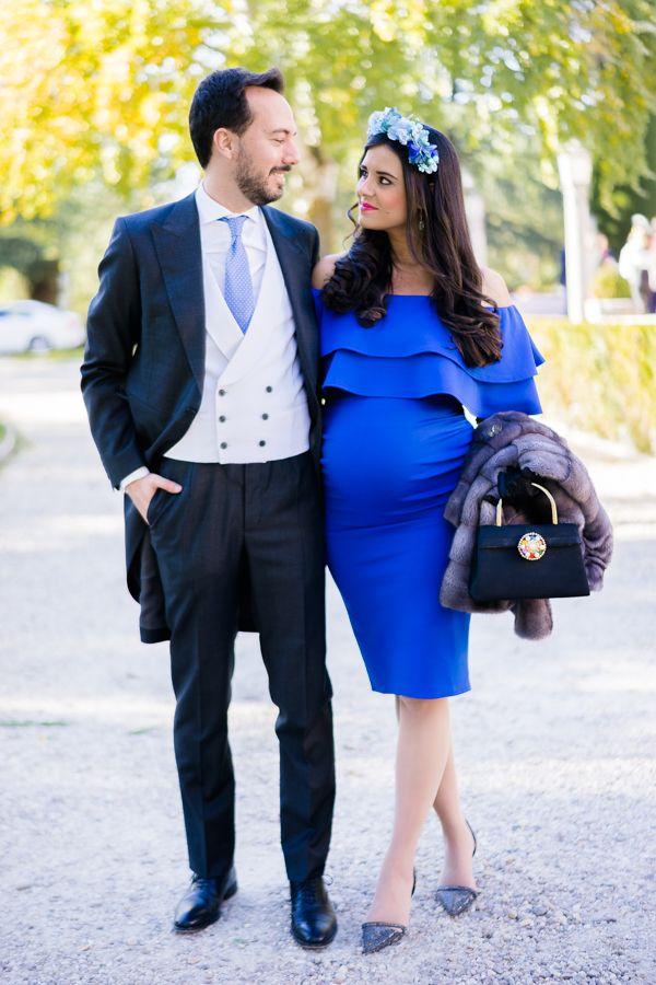 Boutique en ligne 406dd 1ef16 Look de boda de día premamá Invitada perfecta azul Vestido ...