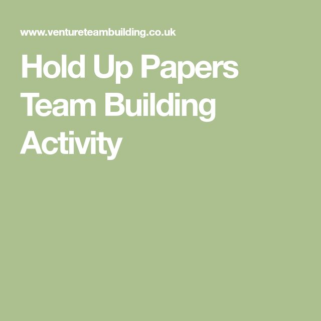 Hold Up Papers Team Building Activity