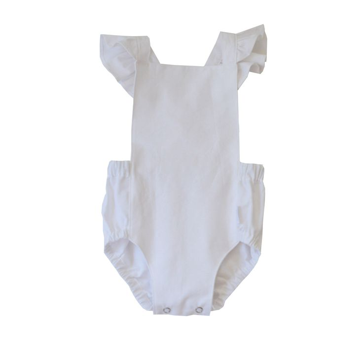 swell & solis Dune Romper - white with ruffles Ethically made baby romper / jumpsuit / onesies