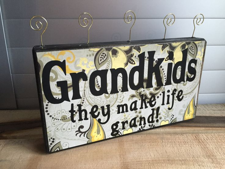 Grandparent Photo Holder, Grandkid picture holder, Photo display, picture frame, photo frame, rustic frame,unique gift. by CrazyBlockLady on Etsy $20