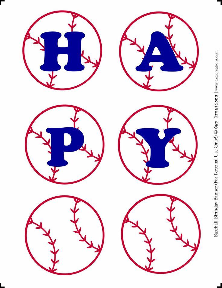 Cap Creations:  Happy Birthday Baseball Banner Printable