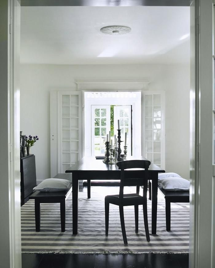 The Most Beautiful House in Denmark? : Remodelista: Dining Rooms,  Boards, Benches, Interiors Design, Stripes Rugs, Black Dining, Dining Sets, Dining Tables, Tine K Home